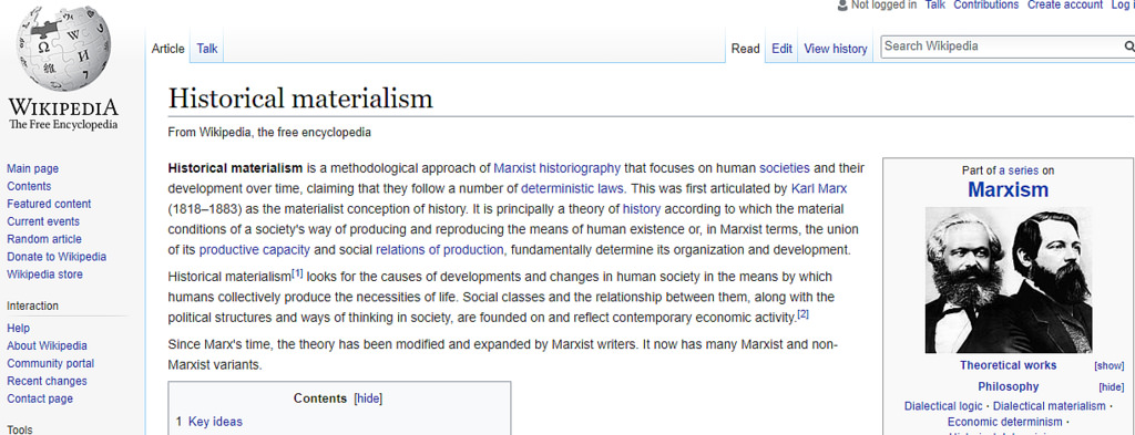 Wikipedia historical materialism