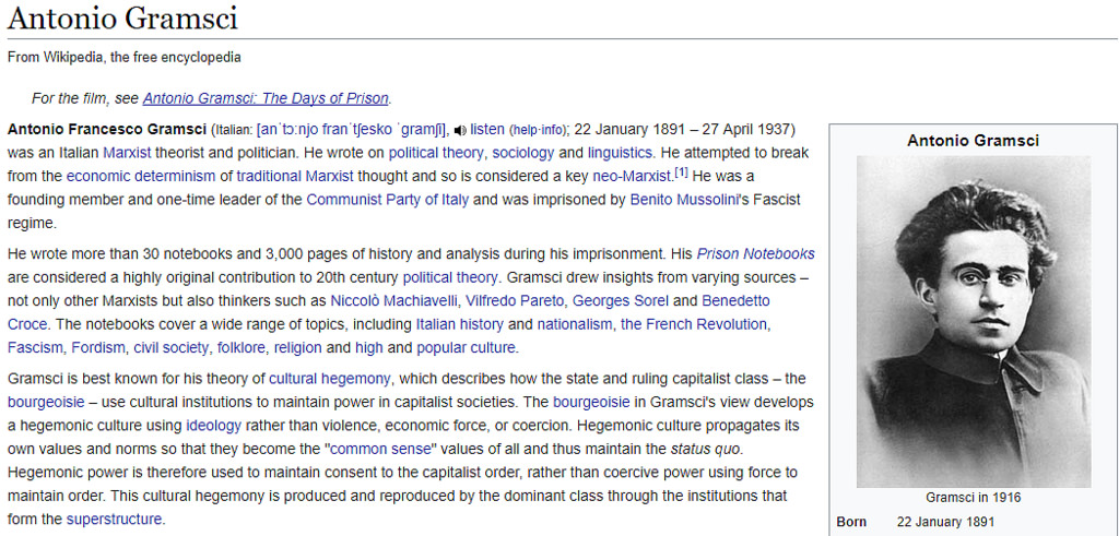 Wikipedia Antonio Gramsci