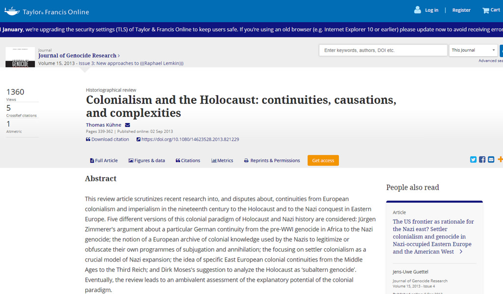 Colonialism and the Holocaust